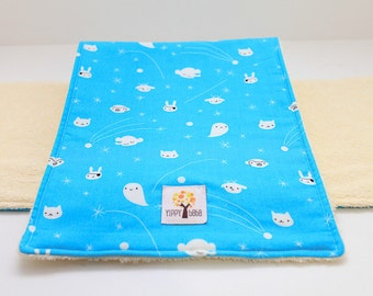 Baby Boy Burp Cloth Set of 1 Blue Space Animals