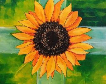 "Sunflower Painting 12"" x 12"" on Panel - Sunflower Acrylic Art - Square Sunflower Decor -"