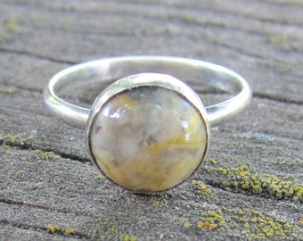 Native American Inspired Jasper Sterling Silver Ring - Size 8