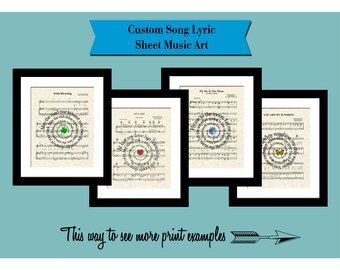 Custom Sheet Music Song Lyric Art Prints, Spiral Lyric Art, Custom Wedding Gift, Custom Anniversary Gift, First Dance, Names & Date