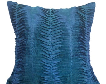 Prussian Blue Pleated Pillow Blue Textured Pillow Prussian Blue Pleated Euro Sham 14x14 16x16 18x18 20x20 22x22 24x24 26x26