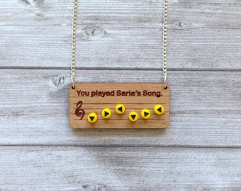 Legend of Zelda Saria's Song necklace - Ocarina of time, Breath of the Wild, Link, Video games, Nintendo 64, old school geek retro