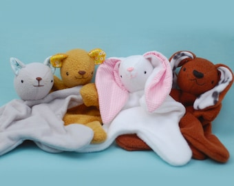 Lovey Dovey Kitty, Bear, Bunny, Puppy - PDF Sewing Pattern For Baby Lovies