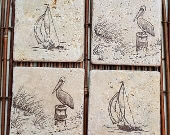 Seascape Coaster Set/Hand-stamped travertine tile/Pelicans, Sand dunes & Sailboats/4 Piece Set