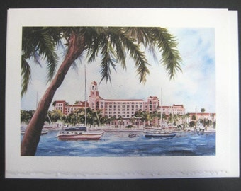 Historic, Vinoy Renaissance Resort,5x7 Note Card, watercolor print, St. Petersburg, Florida Tampa Bay,  5 x 7