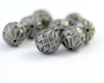 Vintage Faceted Round Antique Silvery Bronze Lucite Beads 14mm (8)