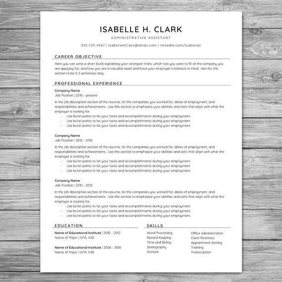 Professional Minimalist Resume Template Cv Template