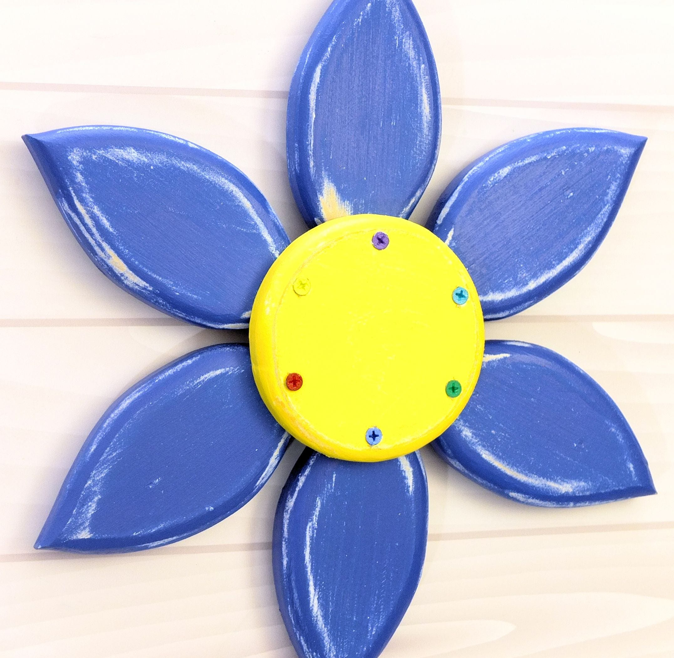 Blue Flower Wreath Wood Flower Wall Art Blue Flower Wall