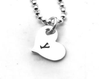 Heart Shaped Initial Necklace, Sterling Silver, Letter y Necklace, All Letters Available, Personalized Jewelry, Hand Stamped, Custom Jewelry