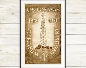 Petroleum industry wall decor, oil well art print, oil rig wall art, oil and gas industry, US postage stamp art, oil well derricks poster