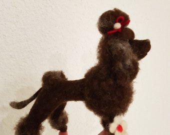 Hand made needle felted wool dog poodle brown