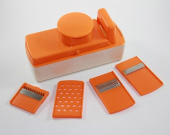 Vintage Orange Multi Purpose Food Veggie Slicer Grater Shredder Kitchen Tool