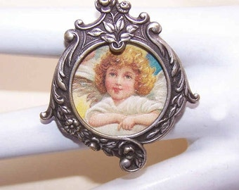 Antique, Edwardian, Silver, Plate, French, Picture, Photo, Pin, Brooch, Angel, Graphic, Removeable, Center, First Communion, Gift, Item