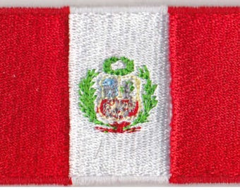 Small Peru Flag Iron On Patch 2.5 x 1.5 inch Free Shipping