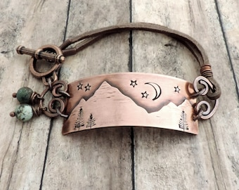 Night Sky Mountain Range Bracelet - Outdoor Jewelry - Hiking Jewelry - Outdoor Woman - Nature Jewelry - Mountain Girl