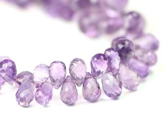 Amethyst Faceted Teardrop Briolettes Medium Purple Semi Precious Gemstone February Birthstone