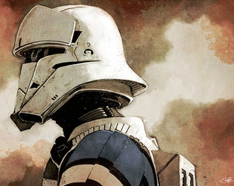 Star Wars - Rogue One - Imperial Hovertank Pilot (Tank Trooper) colour art print