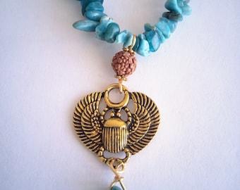Apatite blue scarab necklace Egyptian rudhrashka