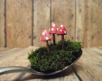 Fairy Garden Mushrooms, Raku Fired, Glow in the Dark, Terrarium mushroom, Red and White Shrooms, Miniature Clay mushroom, plant stake, mini