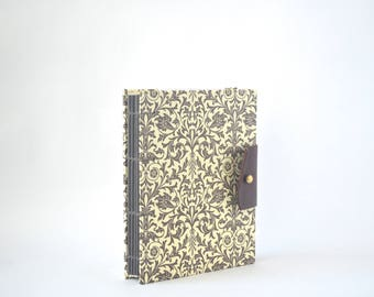 Brown Florentine Floral Hardcover Journal, Hand Bound Coptic Journal, Handmade Journal with Reclaimed Leather and Brass Button