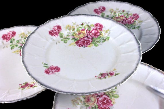 Antique German Dinner Plates, Fine Porcelain, Set of 4, Rose Pattern, Embossed, Brushed Gold Edge