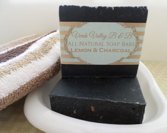 Lemon & Charcoal Soap, Lemon Charcoal Bar Soap, Lemon Charcoal Soap Bar, Charcoal Soap, Handmade Soap, Natural Soap, Vegan Soap