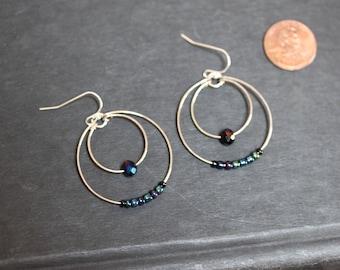 Iridescent double hoops