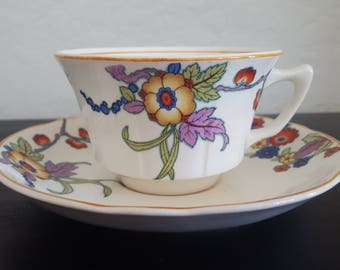 Vintage Art Deco Vibrant Floral Teacup // Knowles, Taylor & Knowles Co. // American Ceramics // 1920s 1930s Tea Cup