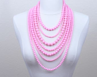 Pink Layered Necklace Purple Multi Strand Statement Necklace Seven Strand Beaded Necklace Long Necklace Chunky Necklace