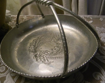 Hand Forged Hammered Silver Serving Platter Braided Handle Vintage Home Decor