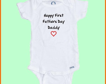 Happy First Fathers Day Custom Printed Baby Onesie
