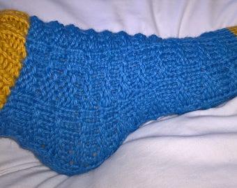 Blue & Yellow Slouch Socks