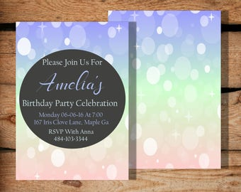 Birthday invitations / Birthday invitations for girls / Invitations for teens / Girl birthday / Girl first birthday / Printable invite