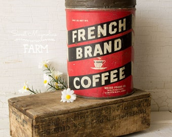 Vintage French Coffee Can Tin - Red and White - Tin Litho -  Cincinnati Ohio,