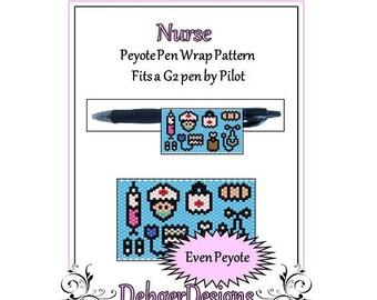Bead Pattern Peyote(Pen Wrap/Cover)-Nurse
