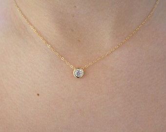 Solitaire Diamond Necklace • Diamond Necklace • Gold Necklace • Gold Solitaire • Bridesmaid • dainty gold necklace • Floating Diamond