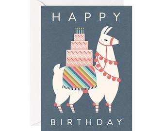 Llama Celebrate Happy Birthday 5x7 Handmade Card Cardstock