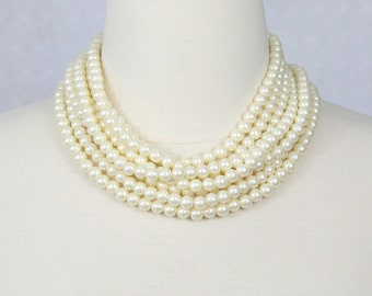 Multi Strand Pearl Necklace Layered Statement Pearl Necklace Audrey Hepburn Pearl Necklace