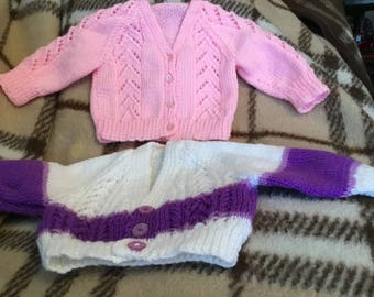 "2 new 18"" hand knitted prem/babies/dolls pink/white/purple woollen cardigans"