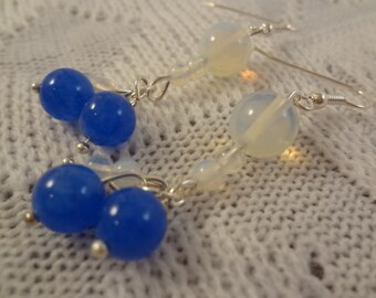 Genuine Blue Opal and Jade Ball Handmade Dangle Earrings - October Birthstone - Vivienne G109