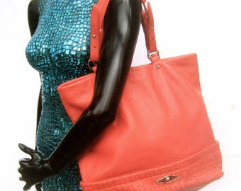 Coral Pink Supple Leather Tote Style Handbag