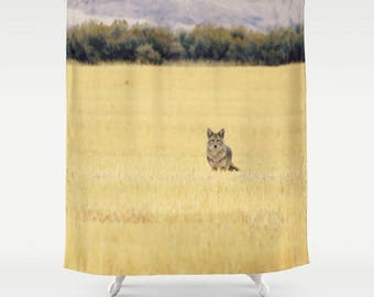 Fabric Shower Curtain  - Wild Coyote, Wolf, High Desert Mountains, Field, Rustic Decor, Nature Photography, bathroom, home, RDelean