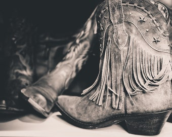 """Cowboy Boots, Nashville Art, Black and White Photography, Country Western Decor, Boot Print, Rustic Art, Boot Wall Art - """"Made for Walkin'"""""""