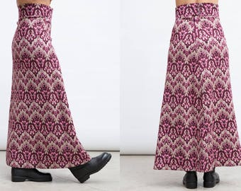Maxi Pattern Skirt, Vintage Purple Skirt, 80s Pattern Skirt, Medium Size Skirt, A Line Skirt, Abstract Pattern Skirt, High Waist Skirt