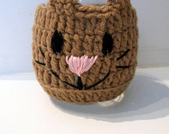 Cat Wine Glass Holder Cover Cozy Cozies Crochet Cat with Tail, Cat lover gift mom