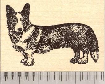 Cardigan Welsh Corgi Dog Rubber Stamp J4706 Wood Mounted