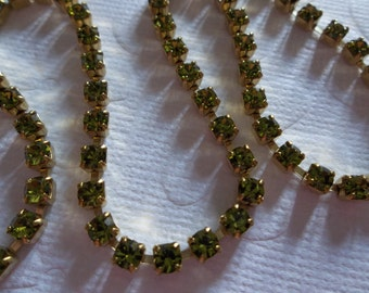 3mm Green Rhinestone Chain - Brass Setting - Green Olivine Preciosa Czech Crystals