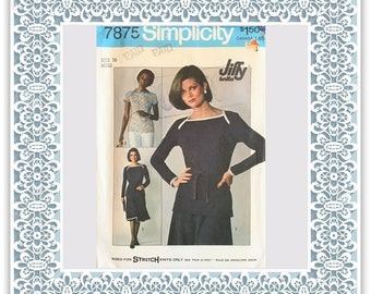 Simplicity 7875 (1977) Misses' Jiffy knit skirt and pullover top - Vintage Uncut Sewing Pattern
