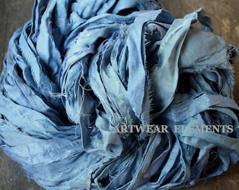 Pure Sari Silk, Watercolor Blue, Per Yard, Recycled Sari Silk, Fair Trade, Fabric, Ribbon, Yarn, Silk, ArtWear Elements, 300
