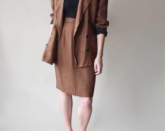 herringbone plaid skirt and blazer set   skirt suit 2 piece, small